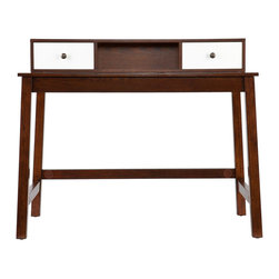 Holly & Martin - Holly & Martin Brody Desk - It isn't every day that you find the desk of your dreams, the one that fits both your taste and needs so perfectly. This espresso and white desk makes a great style statement without taking over the room. This espresso desk features a simple writing surface and a small hutch that can be used directly on the desk or mounted to the wall above it. The lines of this desk are clean and squared, well suited to rooms with a modern feel. The eye-catching hutch features two white drawers which offer a handy storage solution as well as a gorgeous accent to the warmth of the espresso finish. Add this contemporary desk to your home office or bedroom for the perfect workspace. The simple, linear form and attention-grabbing finish of this espresso and white desk is perfect for any home with transitional to modern interior design. Please note: Our photos are as accurate as possible, but color discrepancies may occur between the product and your monitor. The handcrafted touch of artisan skill also creates variations in color, size, and design; slight differences should be expected.