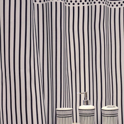 None - 'Polka Dots' Shower Curtain and Bath Accessory 16-piece Set - This fashionable 16-piece bath accessory set by Famous Home Fashions includes everything you need to update your decor to a hip black and white pattern. The shower curtain is machine washable for your convenience.