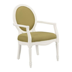 Comfort Pointe - Madison Cucumber Accent Chair - Intricate detailed hand carvings. Fluted front legs. Solid Wood Construction. Minor Assembly Required. Fabric: Textured cucumber color solid. Fabric Content: 100% Polyester. Finish: White Finish. Seat Height: 20 inches. Arm Height: 27 inches. 26 in. W x 31 in. D x 41 in. H (28.15 lbs.)This hand carved accent chair provides a casual feel.  The white vibrant finish is complimented by the textured, cucumber color fabric used for the cushion. Crafted with solid hardwood construction, this chair is sure to be a staple in your home for years to come.