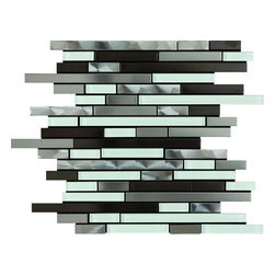 Stainless Steel & Glass Mix 12X12 Interlocking Mosaic - Stainless Steel & Glass Mix 12x12 Interlocking Mosaic is a blend of light and dark stainless steel and white glass. The unique staggered brick pattern results in a stunning modern effect .This tile is ideal for steel back splashes, accent walls, fireplaces and more. The tiles in this sheet are mounted on a nylon mesh which allows for an easy installation.