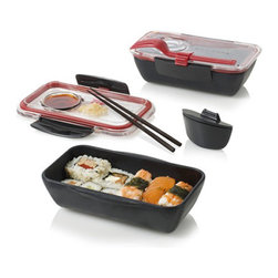 Black + Blum - Bento Box, Black / Red - Storing food hasn't been this fun since, well who remembers a time when storing food was fun? These bento boxes make packing food a joy with their vibrant colors and individual compartments. This one includes a small pot for your dipping sauce and matching fork for on-the-go munching.