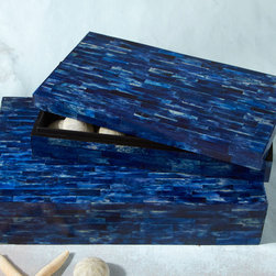 Set of 2 Lapiz Blue Bone-Tiled Boxes - Strikingly bold, brilliant blue lapiz tiles shimmer with iridescent loveliness across the sides and top of this set of bone boxes. Attention getting in their stunning hues, and exquisitely masculine, show these boxes off atop a dresser or store trinkets and treasures in them as they perch in a master bath.