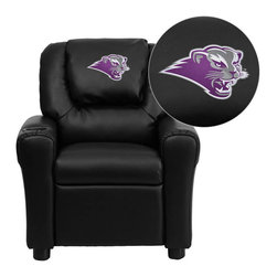 "Flash Furniture - Southwest Baptist University Bearcats Black Leather Kids Recliner with Cup Holde - Get young kids in the college spirit with this embroidered college recliner. Kids will now be able to enjoy the comfort that adults experience with a comfortable recliner that was made just for them! This chair features a strong wood frame with soft foam and then enveloped in durable leather upholstery for your active child. This petite sized recliner is highlighted with a cup holder in the arm to rest their drink during their favorite show or while reading a book. Southwest Baptist University Embroidered Kids Recliner; Embroidered Applique on Oversized Headrest; Overstuffed Padding for Comfort; Easy to Clean Upholstery with Damp Cloth; Cup Holder in armrest; Solid Hardwood Frame; Raised Black Plastic Feet; Intended use for Children Ages 3-9; 90 lb. Weight Limit; CA117 Fire Retardant Foam; Black LeatherSoft Upholstery; LeatherSoft is leather and polyurethane for added Softness and Durability; Safety Feature: Will not recline unless child is in seated position and pulls ottoman 1"" out and then reclines; Safety Feature: Will not recline unless child is in seated position and pulls ottoman 1"" out and then reclines; Overall dimensions: 24""W x 21.5"" - 36.5""D x 27""H"