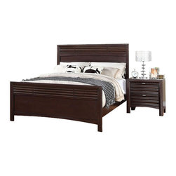 "Acme - 5-Piece Cayden Collection Merlot Finish Wood Queen Size Bedroom Set - 5-Piece Cayden collection merlot finish wood queen size headboard and footboard bedroom set. This set includes the queen bed with headboard and footboard, nightstand, dresser, mirror and chest. Queen bed measures 55"" H to the top of the headboard. Nightstand measures 26"" x 17"" x 27"" H. Dresser measures 62"" x 18"" x 40"" H. Mirror measures 45"" x 37"". Chest measures 38"" x 18"" x 50"" H. Some assembly required."