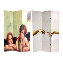 """Oriental Furniture - 6 ft. Tall Double Sided Cherubs Canvas Room Divider - Two iconic religious, spiritual images: Michelangelo's """"Creation of Adam"""" painting from the Sistine Chapel, and the other, Raphael's stunning """"Cherubs"""" a detail from the """"Sistine Madonna"""", photographed and interestingly cropped, then printed onto six foot tall, three panel, durable, portable screens."""