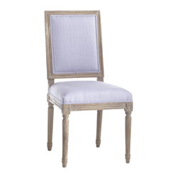 Chateau Dining Chair - Lavender - Here's the more square brother to our Louis XVI Chair (though we'd hardly call it boring!) Simpler, less ornate designs like this characterize Louis XVI furniture–a return to the classic designs of the ancient Romans. This chair embodies those qualities: simplicity in high-quality linen upholstery, charm in a weathered oak finish, and elegant chair legs that imitate Roman columns. Choose one (or more!) of five custom colors to mix and match.