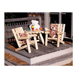 "Rustic Cedar - Children's 3 Pc. Cedar Log Design Chair & Table Set - This Outdoor Children's Log Cedar Set with Table and Chairs from the Harding Collection couldn't be more charming!  Comprising a matched pair of Cedar chairs and a coffee table, this scaled down setting is ideal for kids of all ages.  Children can enjoy the outdoors as much as adults do, especially with this quality-oriented three piece chair and table set made from fine Cedar.  Their log designs and low backs provide very comfortable but durable furniture just for kids. * Log Chair: 25"" high x 19"" deep x 18"" wide, Weight: 15lbs.. Coffee Table: 27"" x 18"", Weight: 25lbs.. Pillows and Stuffed Animals Not Included"
