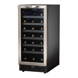 "Danby - 34 Bottle, Built-In Wine Cooler - 34 bottle (3.7cu. ft.) capacity, Electronic thermostat with LED display, Temperature range of 4C- 18C (39.2F - 64.4F), Frost free operation, Cool blue LED track lighting system illuminates interior without the heat of an incandescent bulb, Integrated application (Intended for 15"" cabinet openings), Stainless steel trimmed shelves, Elegant tempered glass door with stainless steel trim, Reversible hinge for left or right hand opening, Safety lock with key, Unit dimensions Width 15"" x Depth 24 12/16"" x Height 34 1/16"""