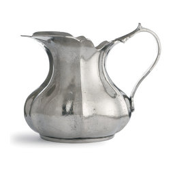 Arte Italica - Vintage Small Scalloped Pitcher - With its curvy body and scalloped edge, this genuine pewter pitcher makes a charming addition to your decor. It's handmade in Italy using age-old techniques to function as an impressive serving piece, yet it's lovely enough to simply put out on display.