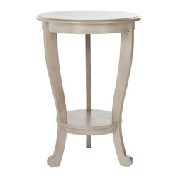 Safavieh - Mary Pedastal Side Table - Vintage Grey - The Mary Pedestal Side Table in vintage grey finished pine is the perfect accent for any room in need of a feminine touch. With graceful curves and simple cabriole legs, Mary offers a round table top and a smaller bottom shelf to hold your treasures.