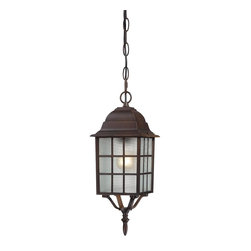 "Nuvo - One Light - Outdoor Hanging Pendant - Rustic Bronze Finish with Frosted Glass - Shade: Frosted Glass.  UL certified: Wet Location.  Bulb Information: 1 x 100w-Medium A19 Incandescent (Bulb is not included).  Chain: 48"". . Color/Finish: Rustic Bronze. 6 in. W x 16 in. H (2 lbs)Classically designed, the Adams collection is beautifully finished in white, rustic bronze or textured black.  This collection features frosted glass which mutes the sharp glare put forth by incandescent bulbs, creating soft, even and welcoming illumination.  This collection makes for the perfect addition to any home."