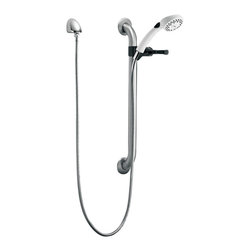 Delta Single Function Hand Shower with Grab Bar and Elbow - RPW324HDF - Timeless design for today's homes