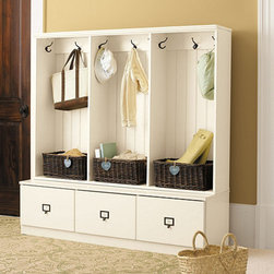 Ballard Designs - Beadboard Entry Cabinet - Set of 3 - With the kids back in school and guests arriving for the holidays, storage is at a premium. This hall tree is functional yet pretty enough to place in your entryway. Organization has never been easier!