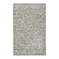 Handmade Soho Loops Grey New Zealand Wool Rug - I wanted a wool rug with a thick, hand-tufted pile, and this fits the bill beautifully. A tone-on-tone rug doesn't compete with bold fabrics and accessories in the room.