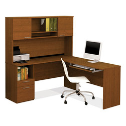 """Bestar - Flame L-Shaped Workstation in Cognac Cherry - Flame is a compact L-shaped desk that is perfect for small spaces. The desk offers one utility drawer and one file drawers with letter/legal filing system. The hutch features two doors and two open spaces for more storage options. Wire management keeps your work surface clean and organized. Drawers and keyboard shelf are mounted on ball bearing slides for smooth and silent operation. Fully reversible unit.; Color: Cognac Cherry ; Dimensions: 59.5""""L x 66.8""""W x 66.3""""H"""