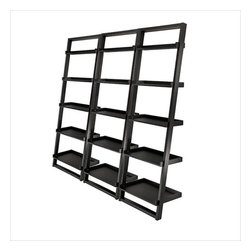 Winsome - Winsome Bailey 5-Tier Ladder Bookcase Set in Black - Winsome - Bookcases - 29525PKG -Winsome Bailey Leaning Shelf 5-Tier Ladder Bookcase in Black