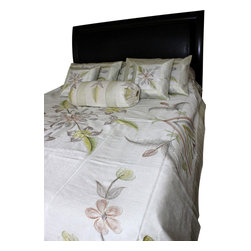 Banarsi Designs - Hand Painted Floral 7-Piece Duvet Cover Set, Beige, Queen - Our decorative and unique 7-piece hand painted floral duvet cover set from Banarsi Designs includes: 1 duvet cover, 2 square pillow covers, 2 rectangular pillow covers, and 2 bolster pillow covers.