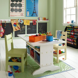 Elementary Table, White - Siblings or friends can collaborate while sitting face-to-face at this desk that features storage underneath.