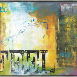 Scandinavian Art Factory - LARGE ARTWORK - This captivating painting embraces aspects of street-style wall art, especially in its inclusion of a list of messages communicated to its viewer. Whether you FEEL … TIRED or BORED, even GOOD, the biggest message (literally) is to just — FEEL.