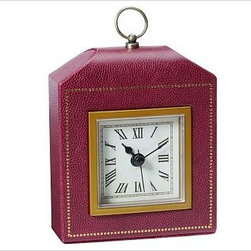 """Abott Alarm Clock, Red - A soft case with the look of pebbled leather and trimmed with brass and gold-foil details houses our Abbott Clock. 4.5"""" wide x 1.75"""" deep x 5.5"""" high Made of faux leather over a plastic frame. Gold foil details. Plexiglas cover is framed with brass trim. Paper face has Roman numerals. Features metal hands, including second hand. Brass loop handle on top. Requires one AA battery (not included)."""