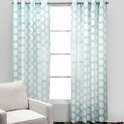 Ankara Panels, Aquamarine - I love this pattern for the window treatment, and the color is the perfect pastel to go with a darker wall.