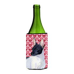 Caroline's Treasures - Rat Terrier Hearts Love and Valentine's Day Portrait Wine Bottle Koozie Hugger - Rat Terrier Hearts Love and Valentine's Day Portrait Wine Bottle Koozie Hugger Fits 750 ml. wine or other beverage bottles. Fits 24 oz. cans or pint bottles. Great collapsible koozie for large cans of beer, Energy Drinks or large Iced Tea beverages. Great to keep track of your beverage and add a bit of flair to a gathering. Wash the hugger in your washing machine. Design will not come off.