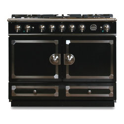 La Cornue CornuFé Stove, Gloss Black - This is the the entry level range from noted French range manufacturer La Cornue. The two outswing doors conceal two smaller ovens, so make sure you test your cookware before buying! The ovens might be smaller, but the Europeans promise this is better way to cook.