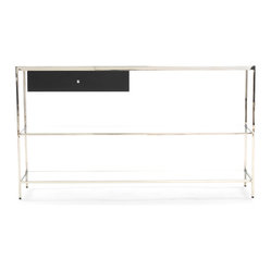 Mitchell Gold + Bob Williams - Manning Console Table - Now you can see things a little more clearly with the addition of this cleverly constructed console. It uses a mix of materials — clear and white glass and stainless steel — to keep things interesting. Plus, its open design looks fabulous against a colorful wall. Use the drawer to stash grab-and-go items like keys.
