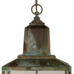 Brantley Lantern, Verdigris - Suffuse your home with the antique splendor only a rich verdigris patina can provide. Like the noble statues and monuments before it, this hanging lantern's charm comes from beautifully oxidized copper and classic design. Its two faux candles will illuminate the night either inside or in the garden.