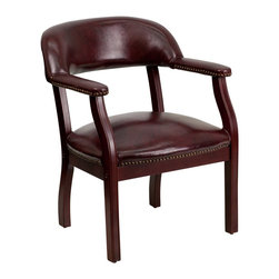 Flash Furniture - Flash Furniture Office Chairs Fabric Side Chairs X-GG-DOOLBXO-501Z-B - This elegant reception/conference chair features upholstered arms, a contoured back, a solid hardwood mahogany frame, and individual brass nail head trimming. This chair will complement reception areas, libraries or your office as a guest chair. [B-Z105-OXBLOOD-GG]