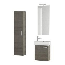 ACF - 18 Inch Grey Oak Bathroom Vanity Set - Set Includes: Vanity Cabinet (1 Door), high-end fitted ceramic sink, wall mounted vanity mirror, tall storage cabinet. Vanity Set Features: Vanity cabinet made of engineered wood. Cabinet features waterproof panels. Vanity cabinet in grey oak finish. Vani