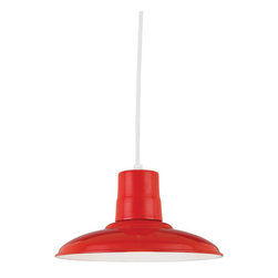 "THE LANCASTER WAREHOUSE SHADE CORD-HUNG CEILING LIGHT - 12"" Lancaster shown in 97-Red Finish with BLO-CW8 Mounting"