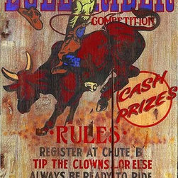 Red Horse Signs - Vintage Signs Bullrider - Bullrider  is  a  rustic  western  sign  sure  to  liven  up  your  bunk  house.  Printed  directly  to  distressed  wood  this  brightly  colored  sign  is  perfect  for  the  cowboys  and  cowgirls  in  your  world.  Measures  14x26  inches.