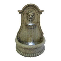 Smart Solar - Lucerne Lions Head Electric Fountain with LED - Freestanding floor fountain in a rustic Italian stone finish. Durable and lightweight resin construction. Powered by an Infinity magnetic drive pump. Includes LED lights for night time illumination. Constantly recycles water from a hidden reservoir. Creates a relaxing atmosphere on your patio, deck, balcony or in the garden. Easy to install and enjoy. Energy efficient pump for low operating costs. UL listed.