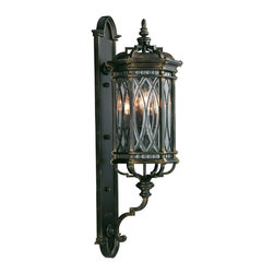Fine Art Lamps - Warwickshire Large Outdoor Wall Mount, 612081ST - Why not go a bit gothic on your home's facade? This wall-mount fixture features individually beveled, leaded glass panels set in a dramatic dark wrought iron patina.