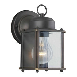Forte Lighting - Forte Lighting 1005 Craftsman / Mission Outdoor Wall Sconce from the Exterior Li - External wall sconce with flat side glass