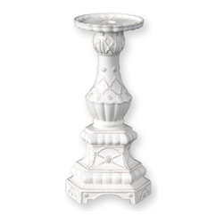 """Juliska - Juliska Jardins du Monde Large Tapered Candlestick, Whitewash - Juliska Jardins du Monde Lg. Tapered Candlestick Whitewash. A work of art on its own, candlestick is comprised of sculptured tiers adorned with intricate detailing. Equally at home in a country cottage beside a stack of antique novels or as a colonnade of five set ablaze down the length of a modern dining table in Manhattan. Dimensions: 13"""" H x 6"""" W"""
