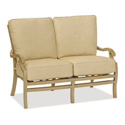 Thos. Baker - Catalina Outdoor Loveseat - The catalina collection features subtly weathered heavy-gauge aluminum frames, elegantly set-off with romantic accents and a classic crossback style. Plush cushion sets are covered in premium Sunbrella outdoor fabrics made-to-order in your choice of signiture solid and textured colors or premium woven and striped patterns.Signature or premium cushion sales are final and ship in 2-3 weeks.