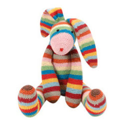 "Striped Long-Eared Bunny - This bunny is colorful and cuddly. Knotted eyes and nose add classic touches, with moveable arms and legs. Featured in Every Day with Rachael Ray magazine. 13"" tall"