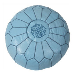 """Pre-owned Embroidered Leather Pouf in Baby Blue - Authentic Moroccan hand-made leather hassock commonly known as Poof is made out of genuine soft leather. The poof is so practical it can be used as a foot stool, as a low seat next to your coffee table or in your children room. This pouf is pre-stuffed with cotton batting. This provides comfort and durability for the poofs. ‰Ű˘ Zippered bottom opening for easy stuffing. Measurement: Diameter: 20"""" Height: 12"""""""