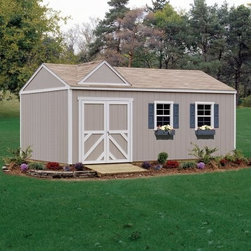 Handy Home Columbia Storage Shed - 12 x 24 ft. - Home is where the heart is, but nobody will fault you if part of your heart is in a John Deere Z900 Zero-turn Mower, and its home is in the Handy Home Columbia Storage Shed - 12 x 24 ft. All your large equipment and off-road toys will have a space of their own inside this spacious, solid-wood structure with 7-foot high walls around an 10-foot peak that accommodates your taller storage needs. The exterior of the structure is primed and ready to paint, and this shed is available with or without a floor. For your convenience, the extra-wide doors can be located on any wall of the structure. The door opening will measure 64W x 72H inches. Detailed instructions and all the necessary hardware are included, so you're ready to get started. About Handy HomeSince 1978, Handy Home has been making it easy and affordable for their customers to add storage sheds, gazebos and playhouses to their homes. As North America's largest producer of wooden storage and recreational building kits, Handy Home makes durable structures that require no sawing or drilling and can be delivered when and where their customers need them.