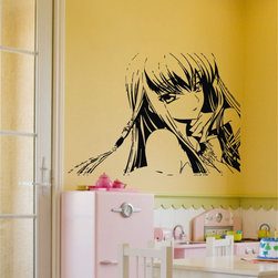 ColorfulHall Co., LTD - Wall Decals for Nursery Cartoon little girl with long hair Anime kids baby room - Wall Decals for Nursery Cartoon little girl with long hair Anime kids baby room