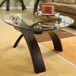 Magnussen T1396-65 Element Pie Shaped Coffee Table - Make a bold statement in your contemporary urban home with the Magnussen T1396-65 Element Pie Shaped Coffee Table. Expertly designed this modern table features a unique criss-cross arched base of durable walnut veneers and bent plywood solids that lends it a distinctive elegant feel. And its bold eye-catching design is complemented by a pie-shaped top crafted of 10mm clear glass and stainless steel pucks.This product is made in China; some assembly is required.About Magnussen FurnitureFrom its beginning as a small furniture company in Ontario Canada Magnussen Furniture has evolved into a full-line furniture resource with offices in Canada the United States and the Far East. Their business is creating furniture designs of exceptional style value and beauty. They produce these designs in partnership with manufacturing partners around the world that meet exacting standards for superior quality at the best possible value.