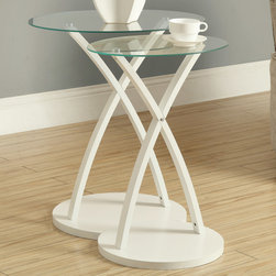 Monarch - White Bentwood 2Pcs Nesting Table Set - With circular tempered glass tops, this 2 piece nesting table set gives a contemporary look to any room. Its beautifully stained white in. bentwood in. legs provide sturdy support as well as an elegant look. Use this multi- functional set as end tables, lamp tables, decorative display tables, or simply accent pieces.