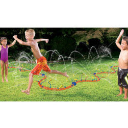 Banzai Wigglin' Water Sprinkler - Of course a completed yard needs an area for the kiddies. When they are not in the pool, mine love to run through the sprinkler until they are soaked. This low-cost option provides a lot of fun.
