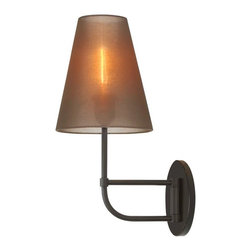 Sonneman Lighting - Sonneman Lighting Bistro Contemporary Swing Arm Long Wall Sconce X-23.2691 - Bistro Sconce is a modern design featuring the luminance of a filament that shimmers behind a veil of organza silk, casting mysterious sophistication to your eclectically designed home or architect-inspired space. Available in black bronze with a bronze organza shade.