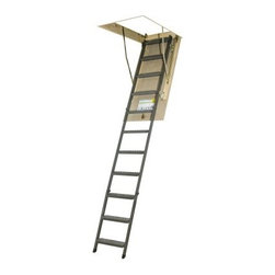 "Fakro 10.1 ft. Steel Attic Ladder - The easy-to-install Fakro 10.1 ft. Steel Attic Ladder is a safe and attractive way to access your upper storage area. These 11 steps are made from durable steel for a reliable structure that stands firm on non-slip treads. Easy-to-grasp side rails run along the sides for your added safety and the whole thing can support up to 300 lbs. so you can haul heavier items to and from your attic. The wooden door features springs at its surface to create a wider opening for a comfortable entry and its smooth design means you can paint it in a complementary shade to match your decor. This model is available in two sizes: 54L x 22W and 54L x 25W inches both of which easily adjust lengthwise from 7' 11"""" to 10' 1"""". ANSI certified. About Fakro A privately owned company established in Poland in 1991 FAKRO has grown into one of the most dynamic and fastest growing companies in the world with over a 15% share of the global market and 3 300 employees. Their extensive research and development center produces a wide variety of roof windows with unique design and functionality accessories and the very latest in solar collectors. Their emphasis on health safety security and environmental impact is unmatched. For an expansive range of top-of-the-line products for all imaginable applications look to FAKRO."