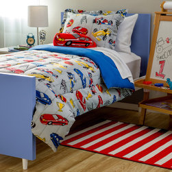 None - Kids Collection Race Car 4-Piece Comforter Set - Turn your future racecar driver's bedroom into a dream land. With this racecar patterned polyester,machine washable comforter sets,your child will sleep comfortably.