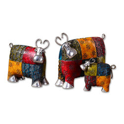 Uttermost - Colorful Cows Metal Figurines, Set of 3 - Every home can use a splash of color and a whimsical touch. You can do that with these delightful cow figurines. They'll make you laugh out loud looking at their quizzical faces and postures.