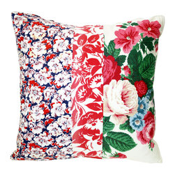 Acapillow - Floral Patchwork Pillow - Trying to get that bohemian mixed print look? This fun pillow has already done the mixing for you, with a perfectly mismatched set of colorful vintage florals. It repurposes charmingly sourced fabrics like 1940s feed sack calico and antique French florals, and combines them with the eclectic flair of a thrift store fashionista.